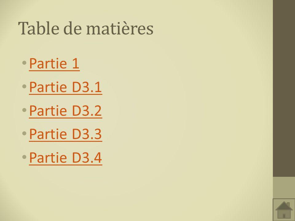 Table de matières Partie 1 Partie D3.1 Partie D3.2 Partie D3.3