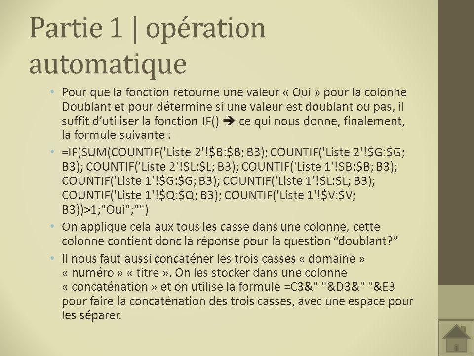 Partie 1 | opération automatique