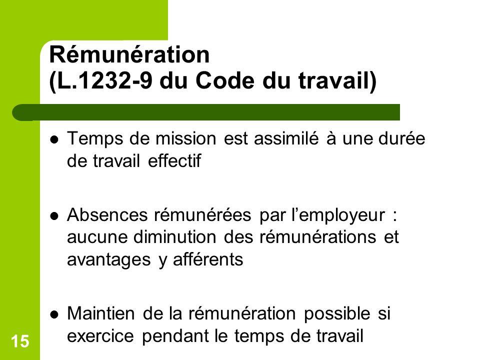 Rémunération (L.1232-9 du Code du travail)