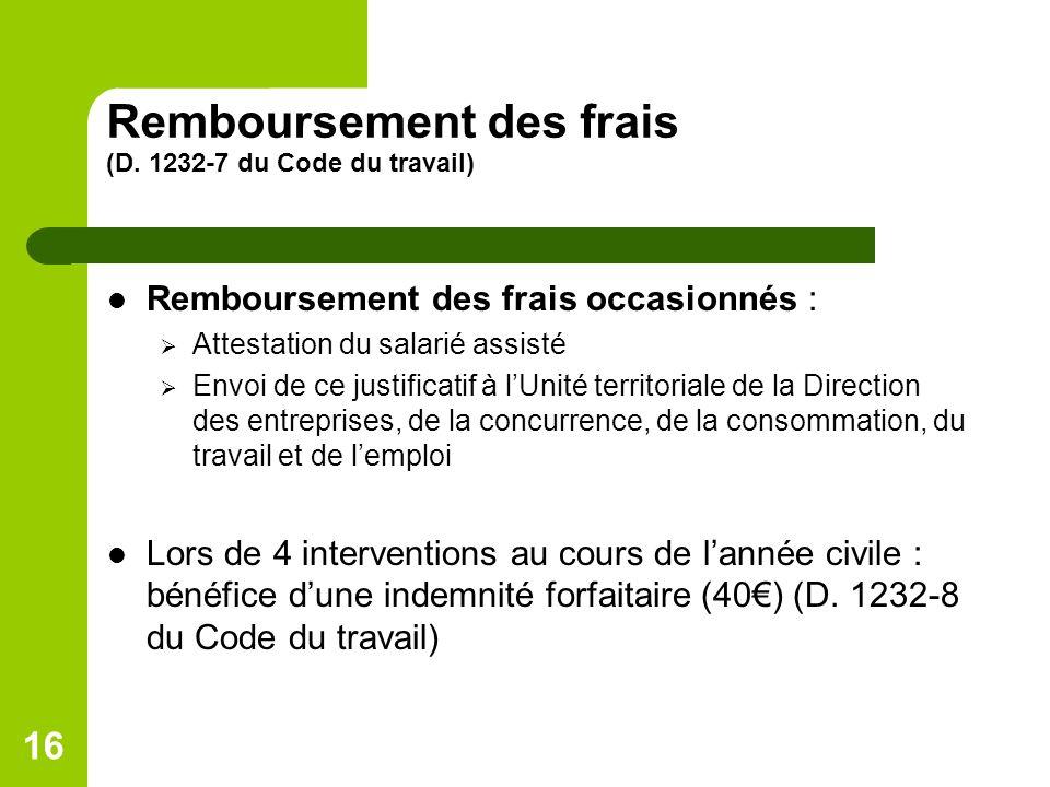 Remboursement des frais (D. 1232-7 du Code du travail)