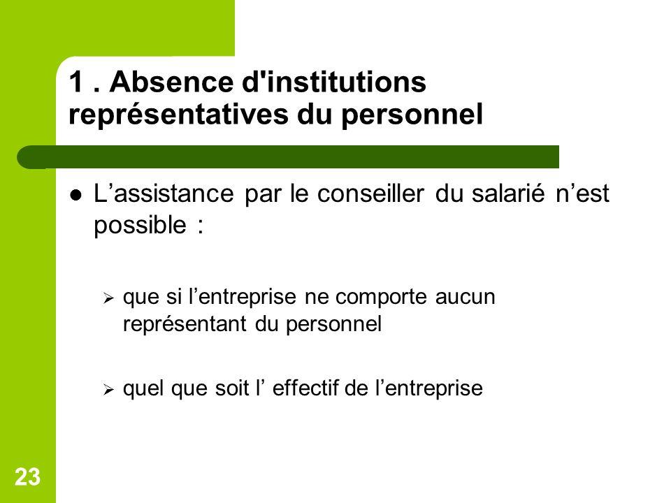 1 . Absence d institutions représentatives du personnel