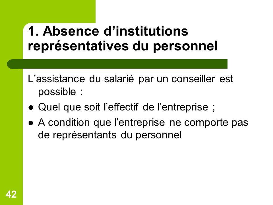 1. Absence d'institutions représentatives du personnel