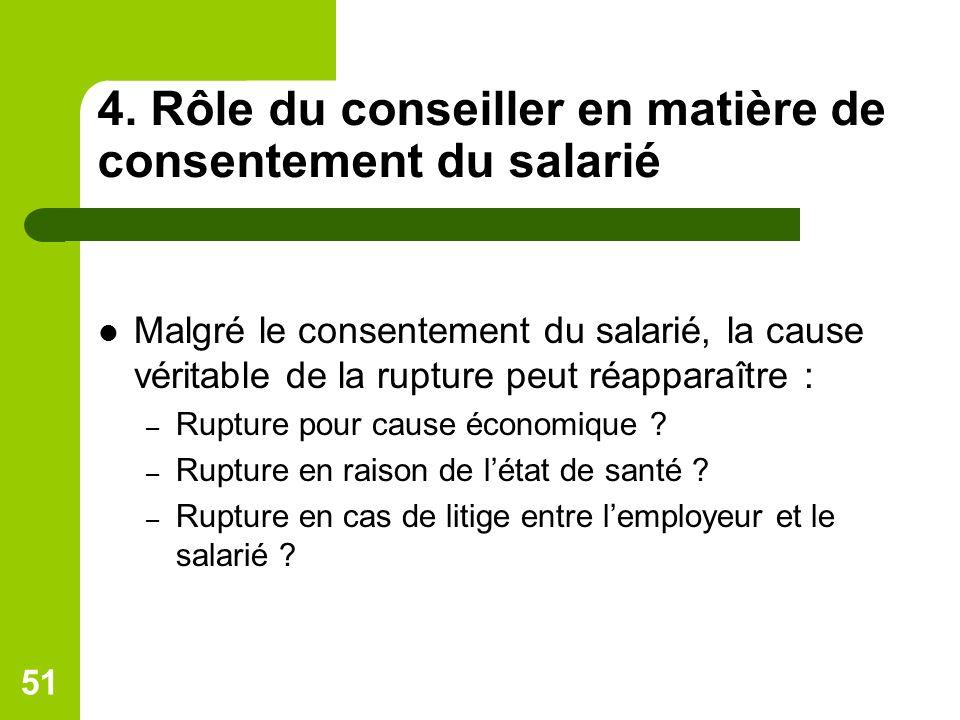4. Rôle du conseiller en matière de consentement du salarié