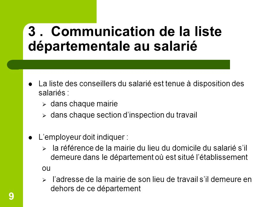 3 . Communication de la liste départementale au salarié