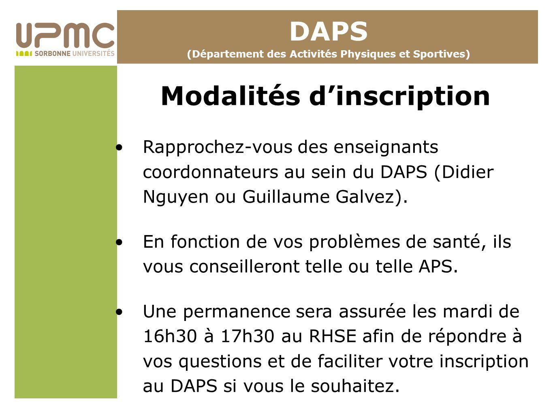 DAPS Modalités d'inscription