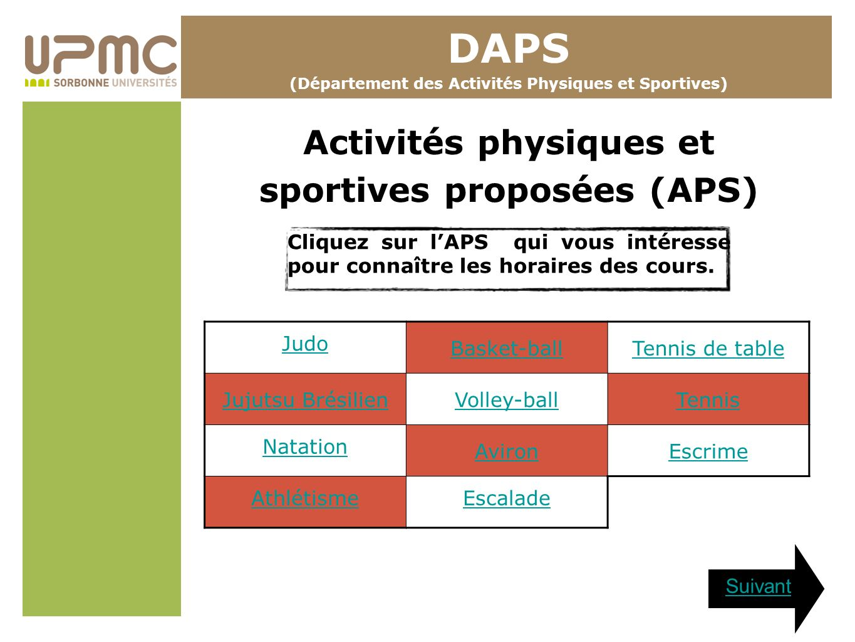 DAPS Activités physiques et sportives proposées (APS)