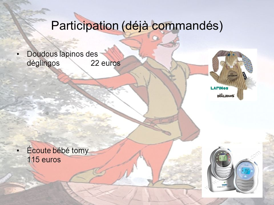 Participation (déjà commandés)