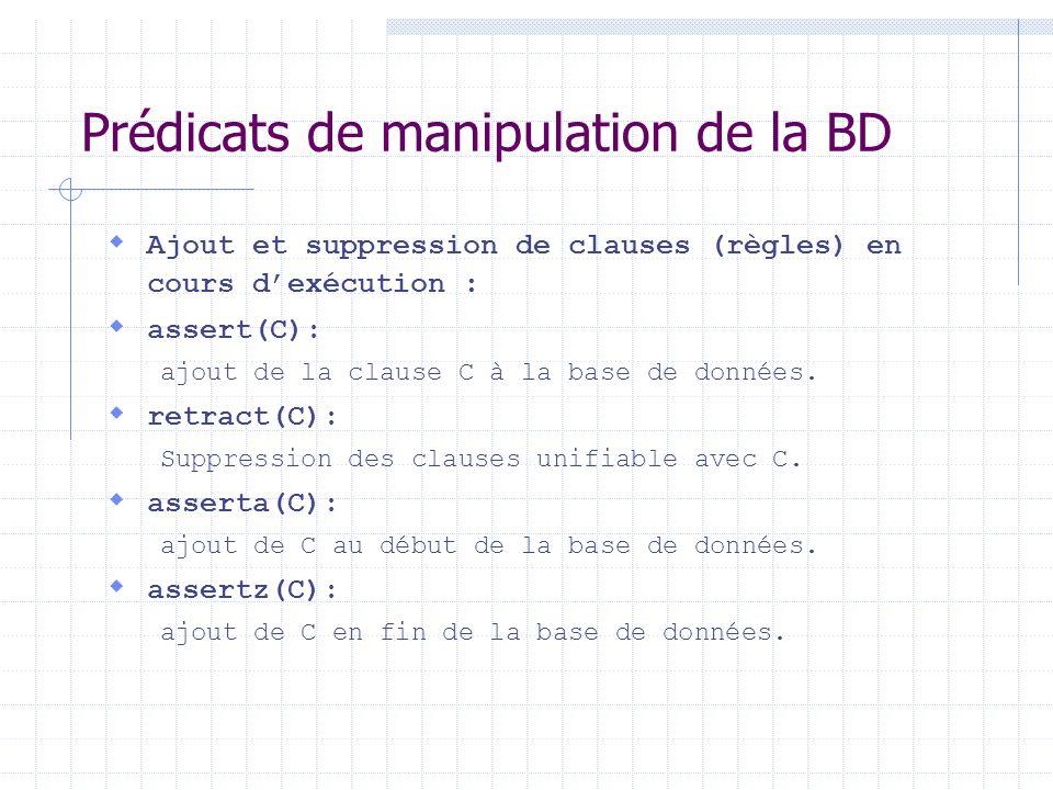 Prédicats de manipulation de la BD