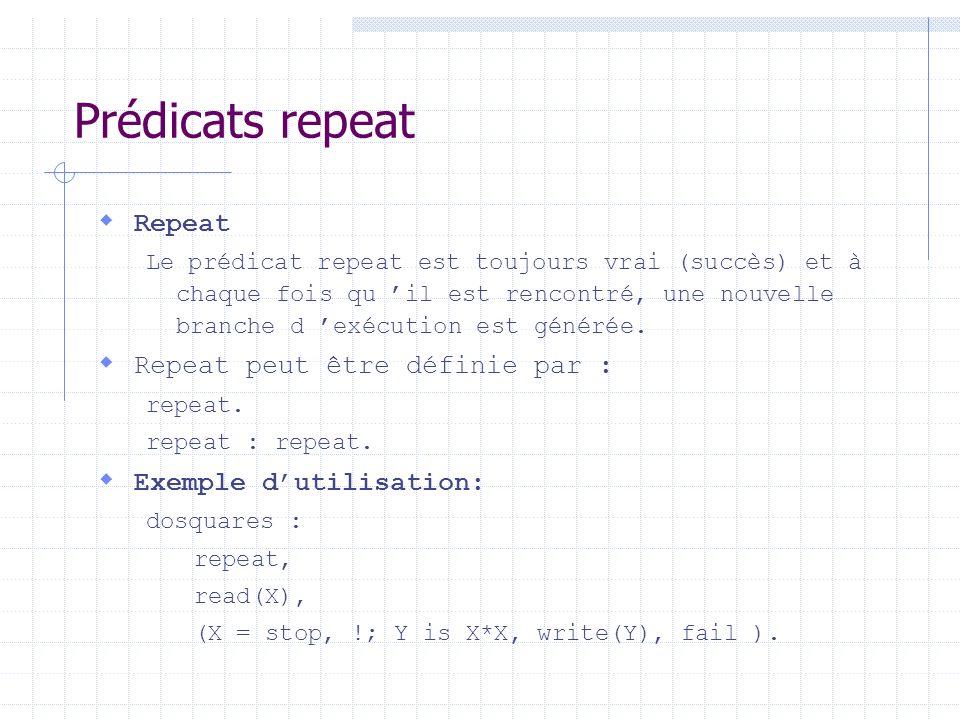 Prédicats repeat Repeat Repeat peut être définie par :