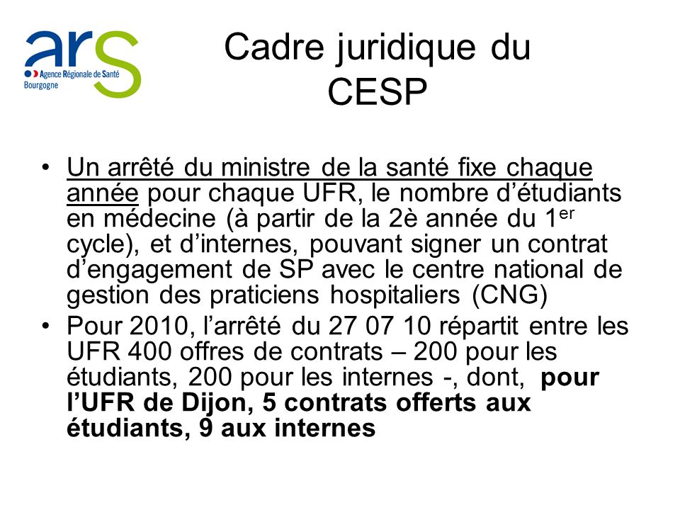 Cadre juridique du CESP