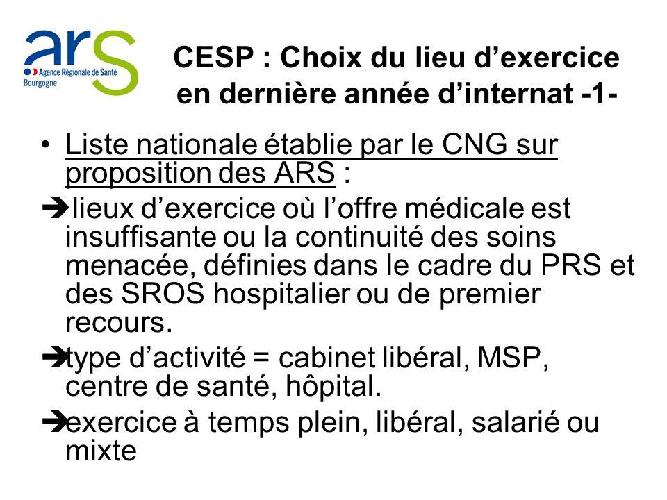 CESP : Choix du lieu d'exercice en dernière année d'internat -1-