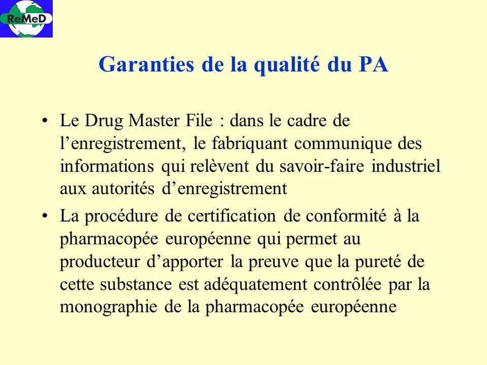 Garanties de la qualité du PA