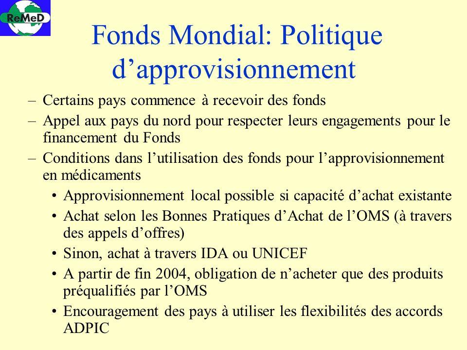 Fonds Mondial: Politique d'approvisionnement