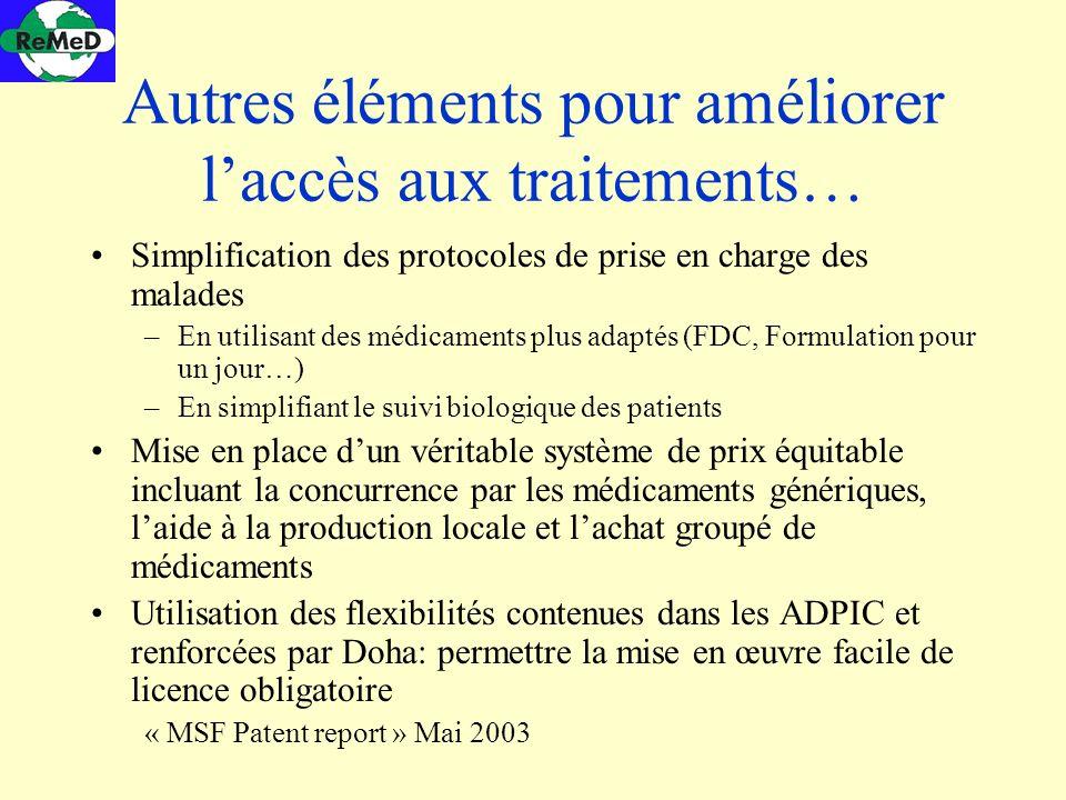 Autres éléments pour améliorer l'accès aux traitements…