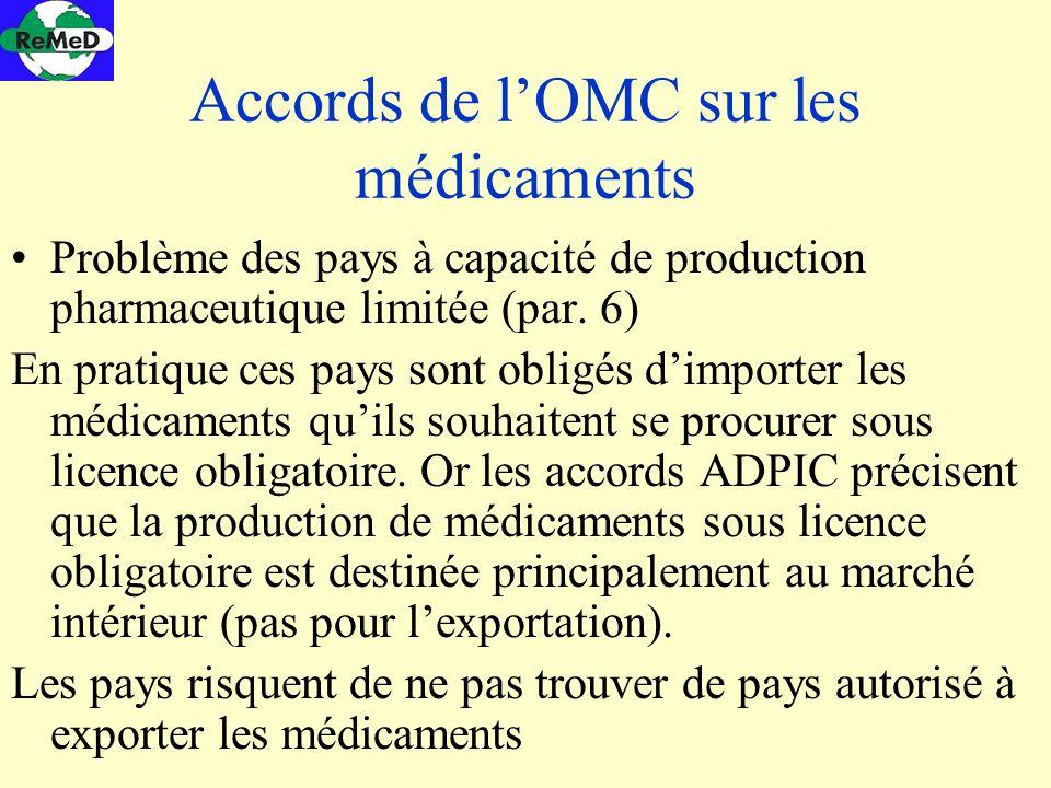 Accords de l'OMC sur les médicaments
