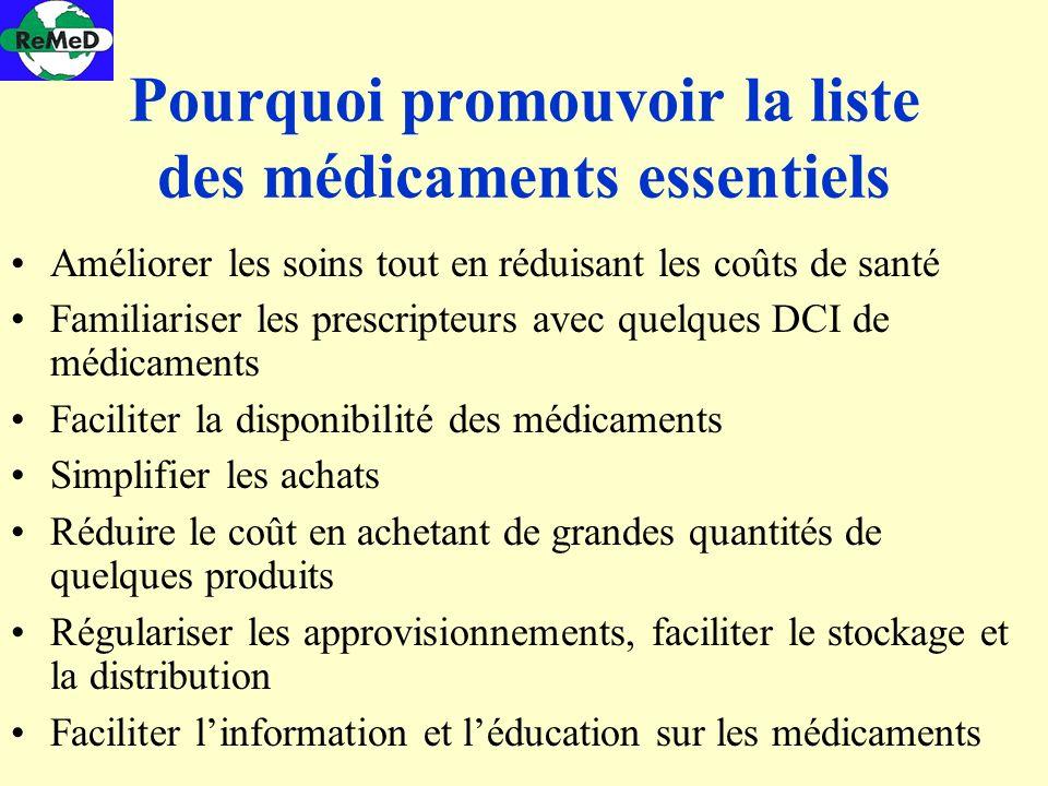 Pourquoi promouvoir la liste des médicaments essentiels