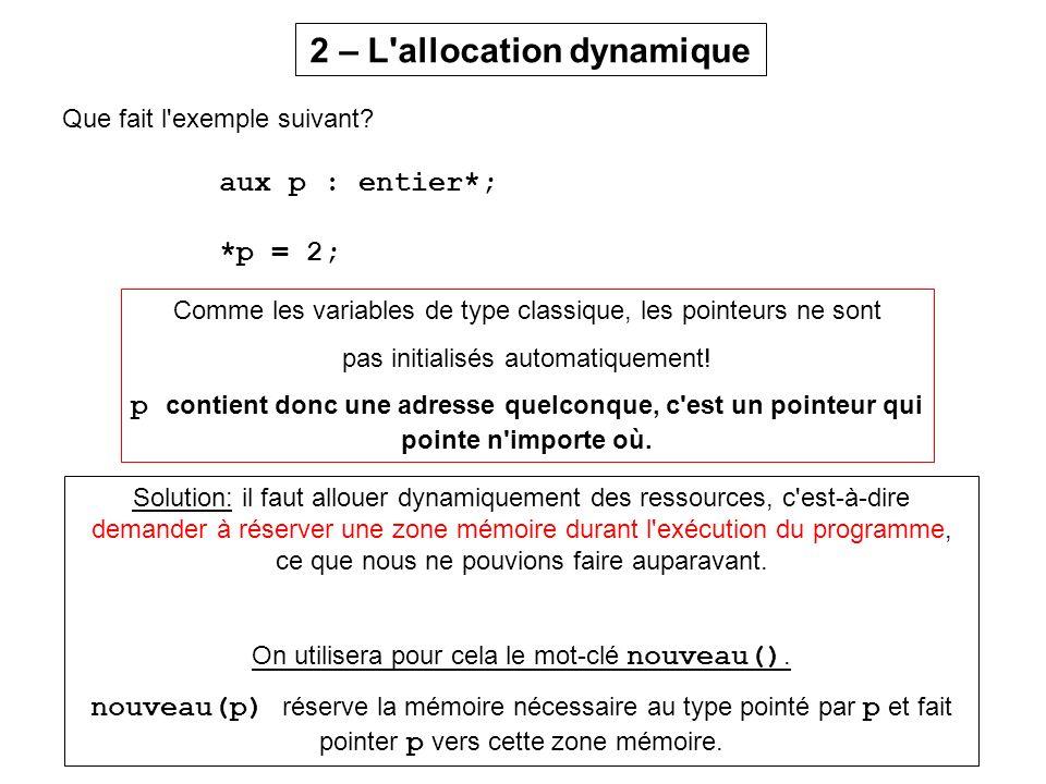 Cours 7 - Les pointeurs, l allocation dynamique, les listes chaînées