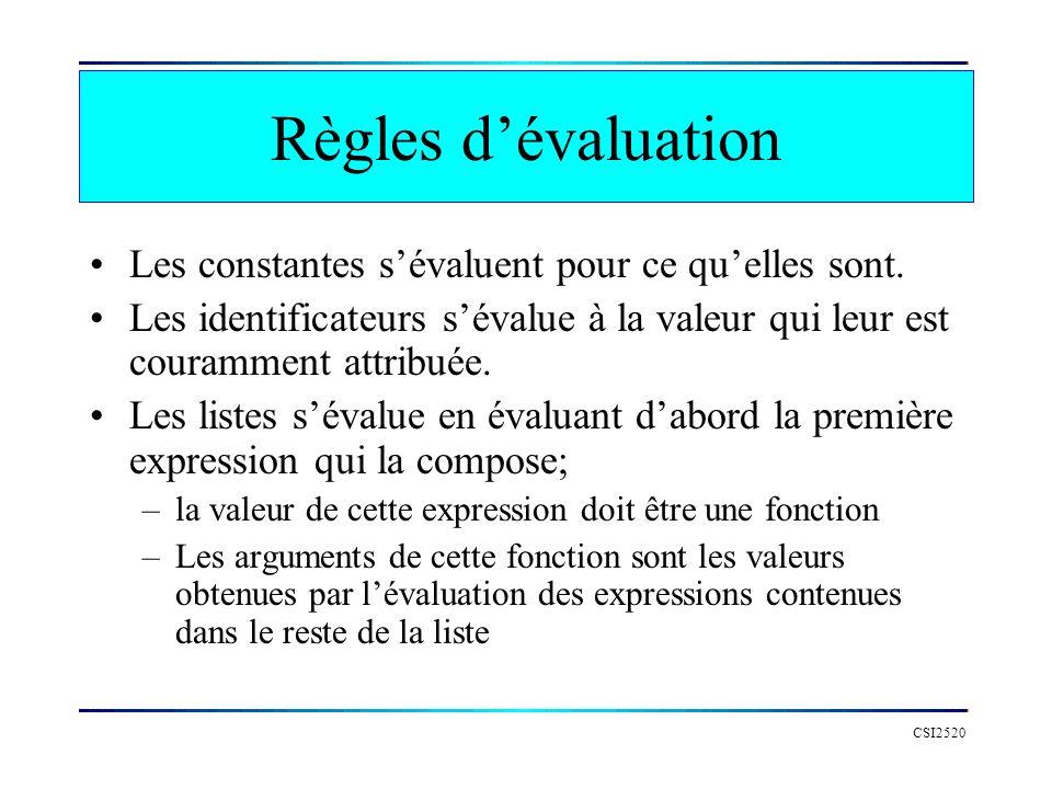 Règles d'évaluation Les constantes s'évaluent pour ce qu'elles sont.