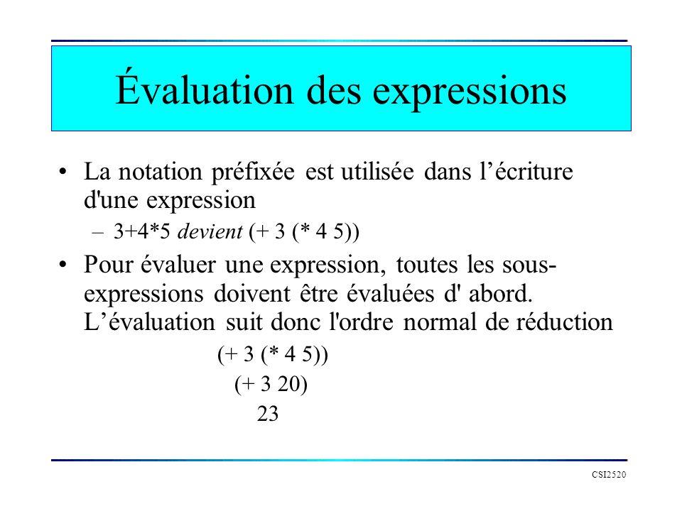 Évaluation des expressions