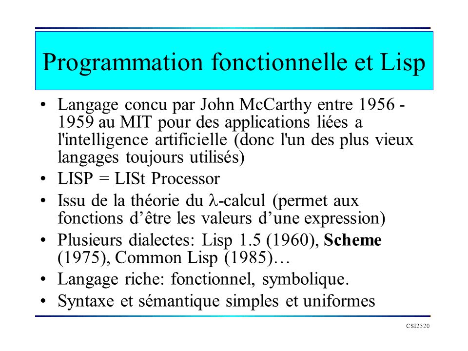 Programmation fonctionnelle et Lisp