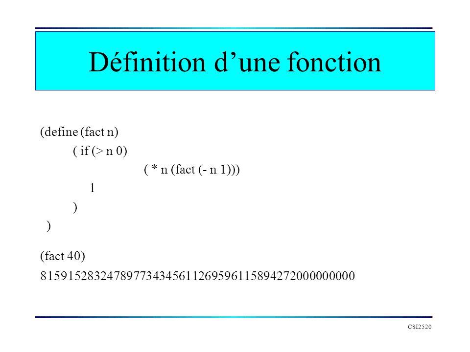 Définition d'une fonction