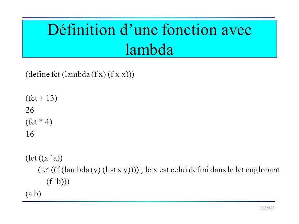 Définition d'une fonction avec lambda