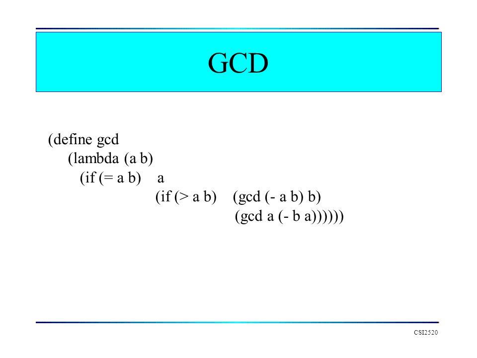GCD (define gcd (lambda (a b) (if (= a b) a