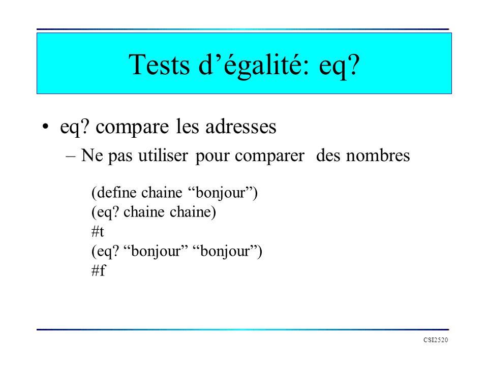 Tests d'égalité: eq eq compare les adresses