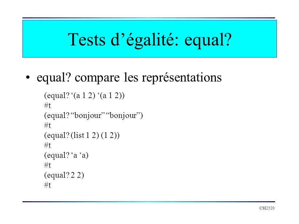 Tests d'égalité: equal