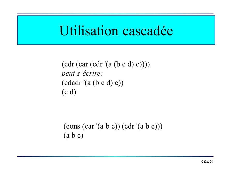 Utilisation cascadée (cdr (car (cdr (a (b c d) e)))) peut s'écrire: