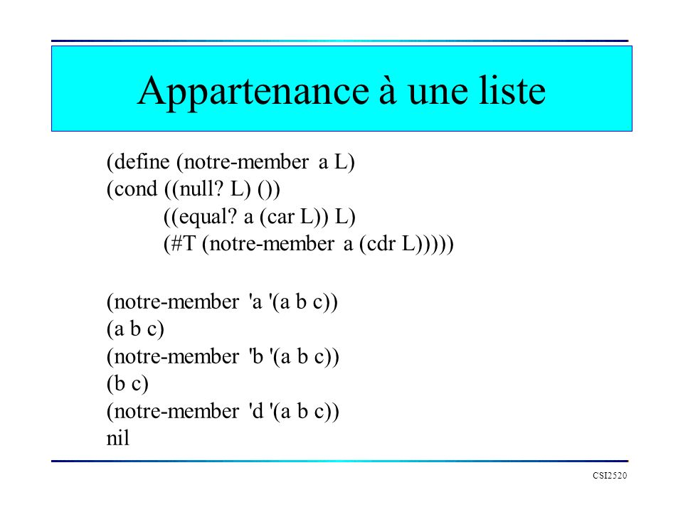Appartenance à une liste