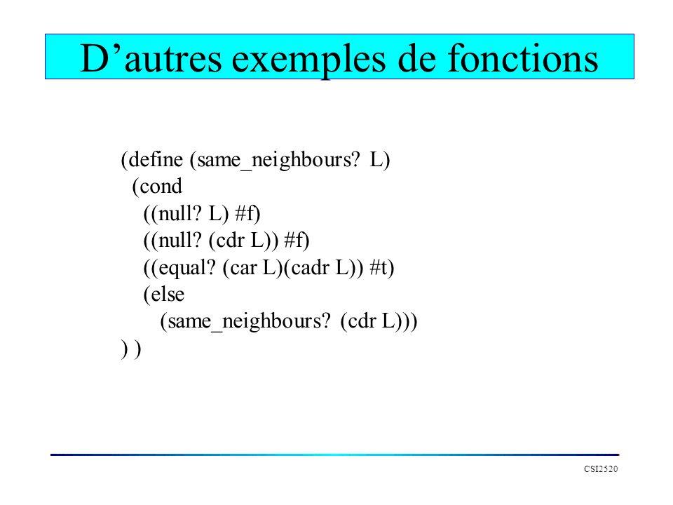 D'autres exemples de fonctions