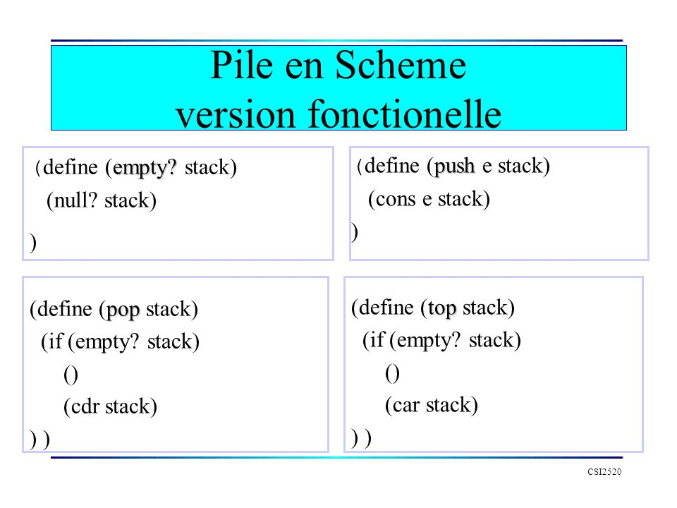 Pile en Scheme version fonctionelle