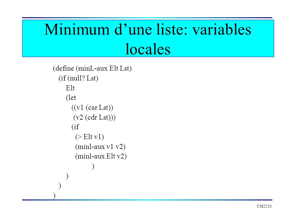 Minimum d'une liste: variables locales