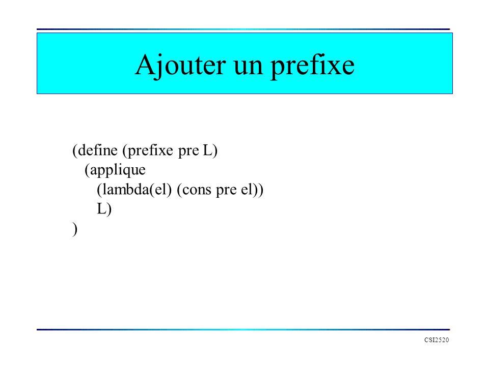Ajouter un prefixe (define (prefixe pre L) (applique