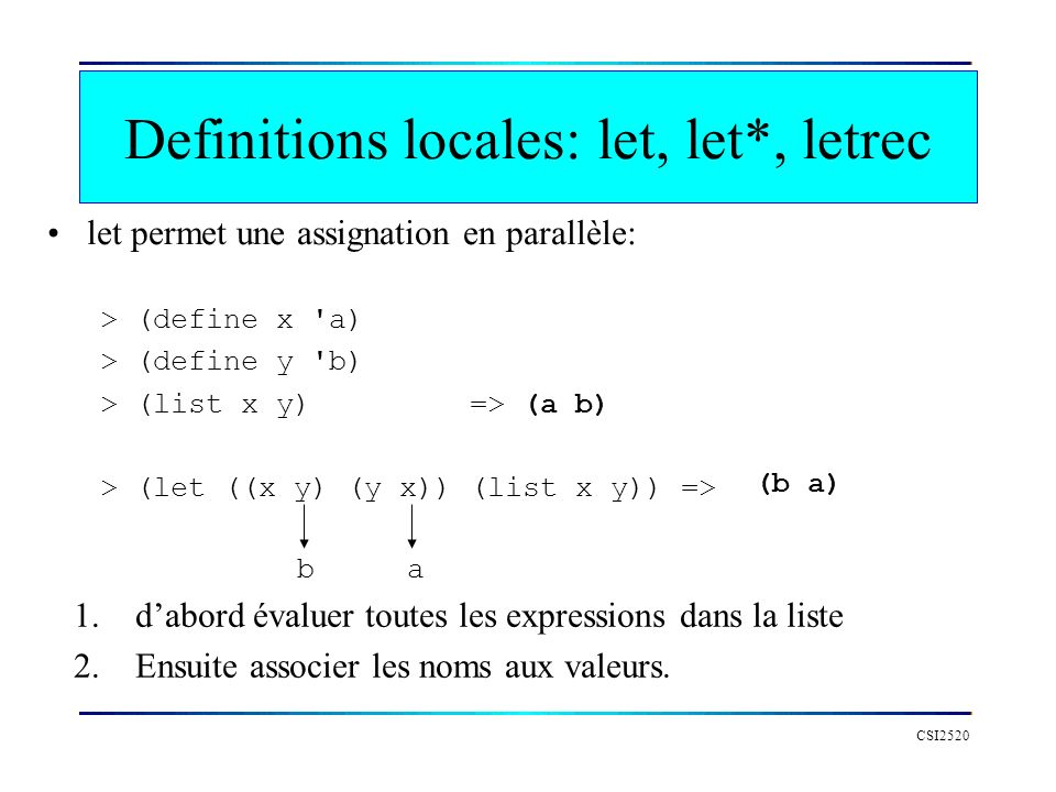 Definitions locales: let, let*, letrec