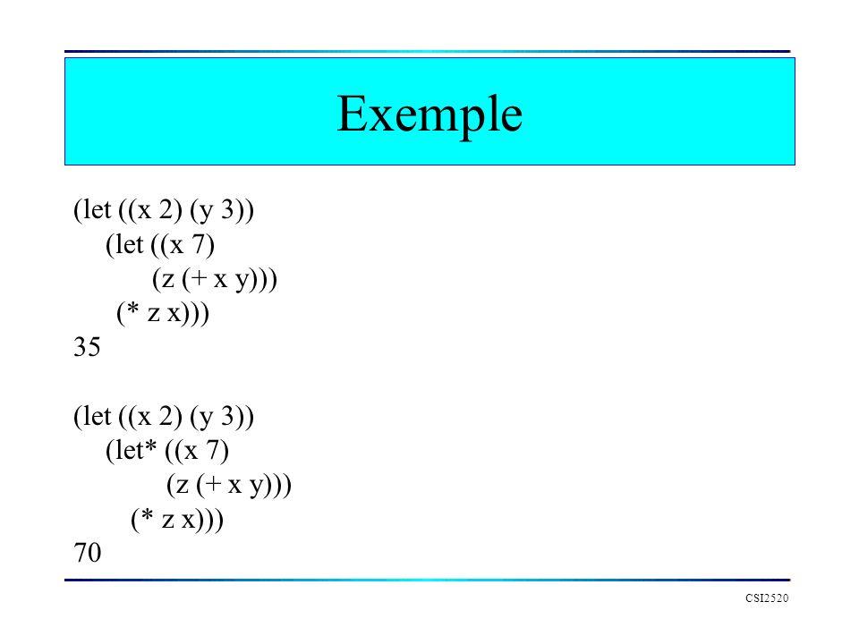 Exemple (let ((x 2) (y 3)) (let ((x 7) (z (+ x y))) (* z x))) 35