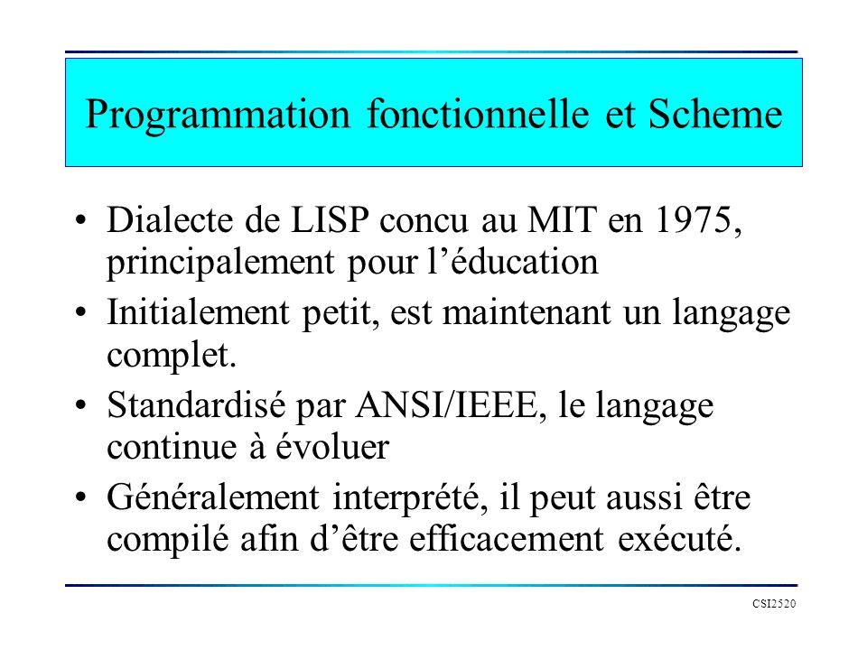 Programmation fonctionnelle et Scheme