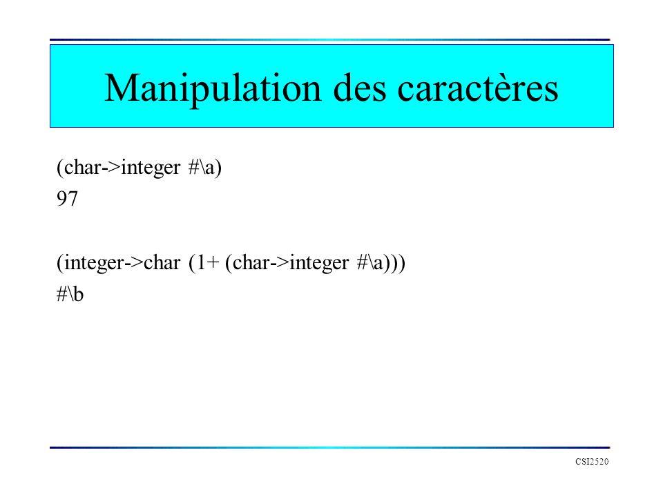 Manipulation des caractères