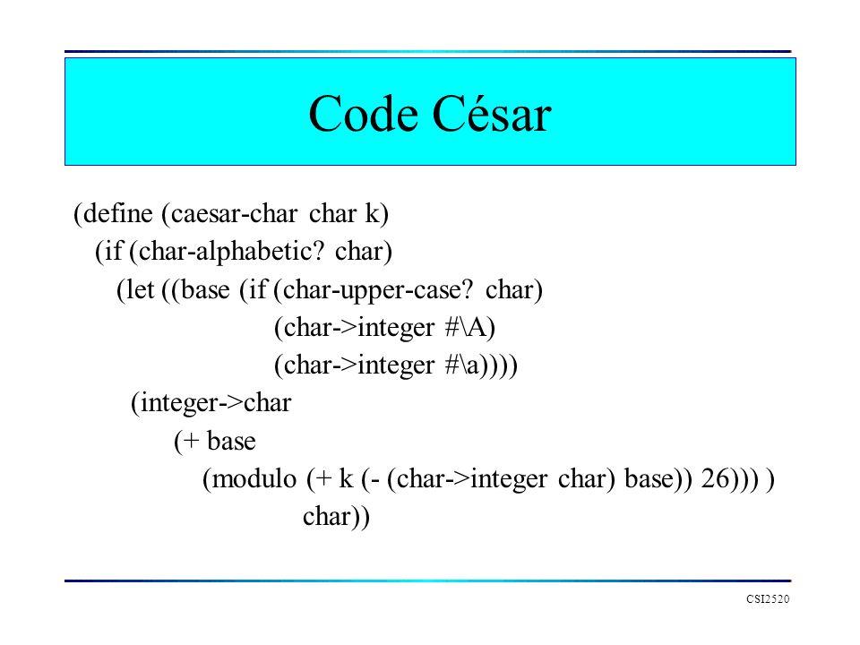 Code César (define (caesar-char char k) (if (char-alphabetic char)