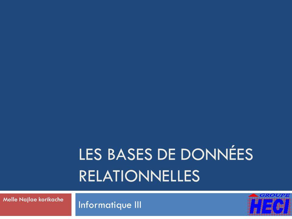 Les bases de données relationnelles