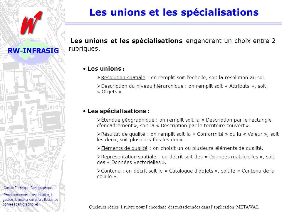 Les unions et les spécialisations