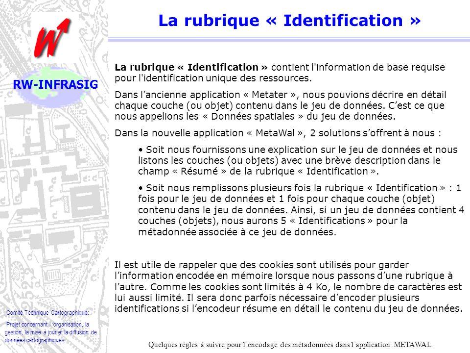 La rubrique « Identification »
