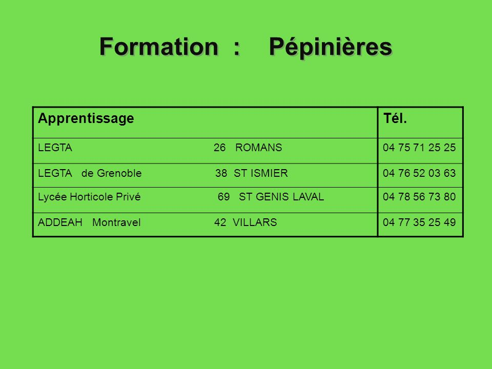 Formation : Pépinières