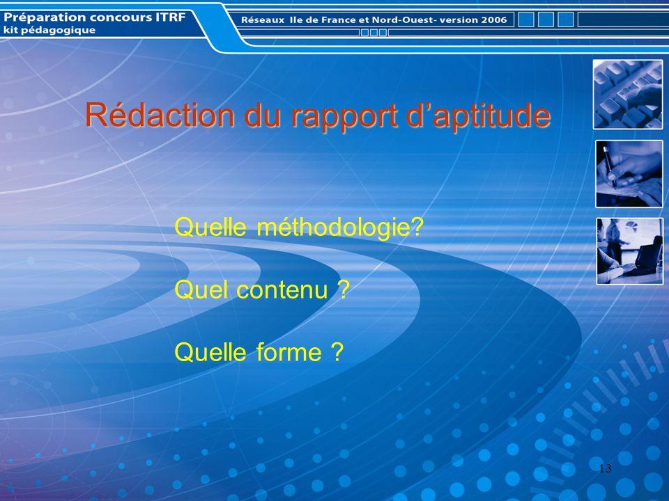 Rédaction du rapport d'aptitude