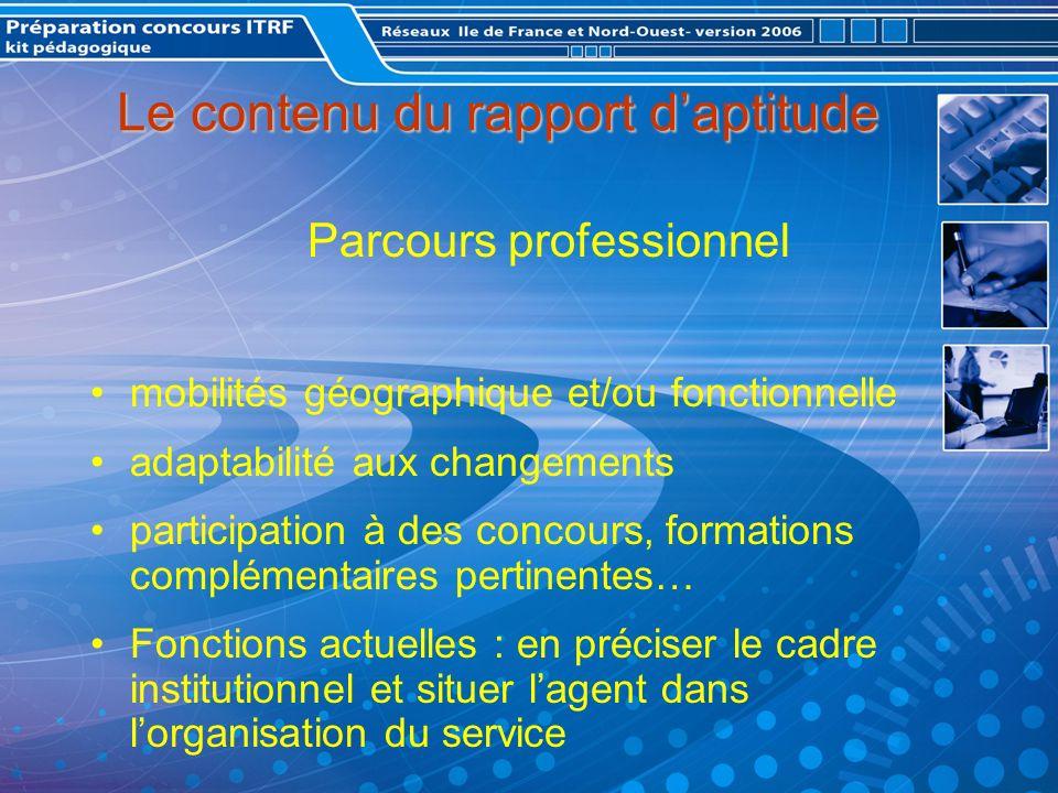 Le contenu du rapport d'aptitude