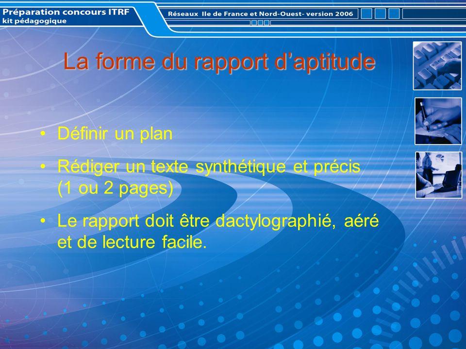 La forme du rapport d'aptitude