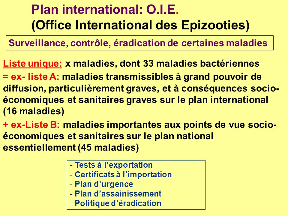 Plan international: O.I.E. (Office International des Epizooties)