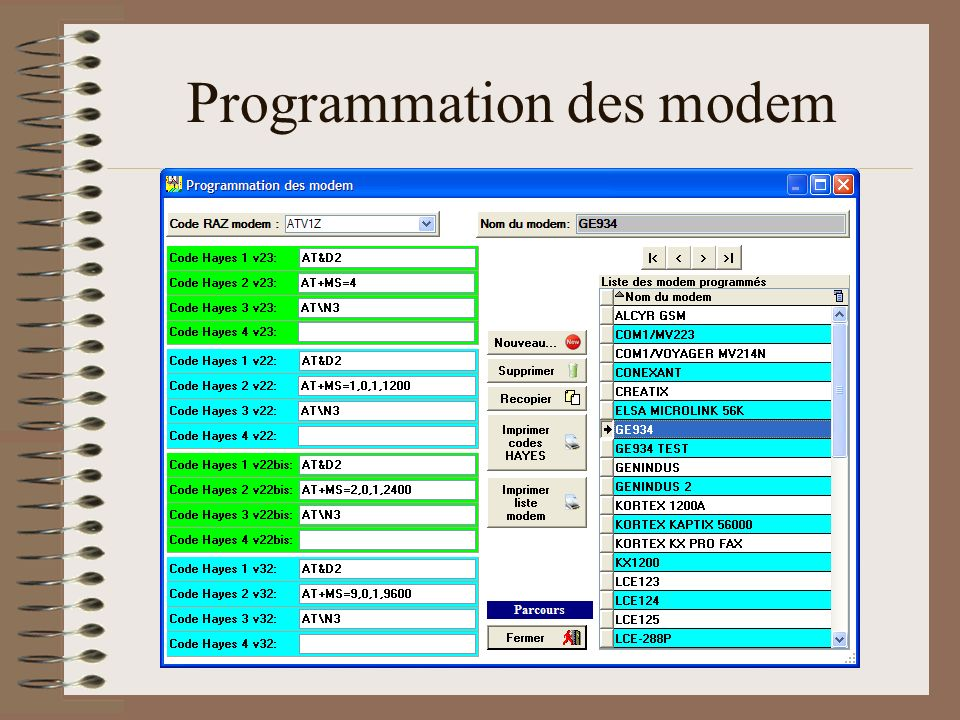 Programmation des modem