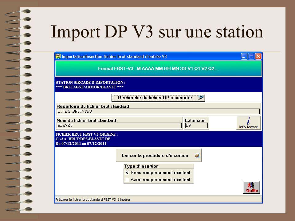 Import DP V3 sur une station
